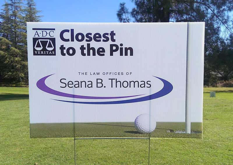 Closest to the Pin sign on the course at Silverado Resort