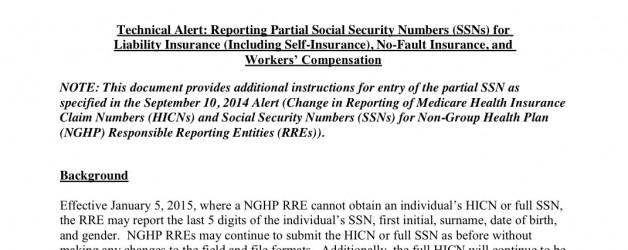 UPDATE: CMS Accepts 5 digit SSNs